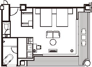 エグゼクティブコーナーツインルーム 間取り図一例