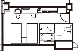 プレミアツインルーム 間取り図一例