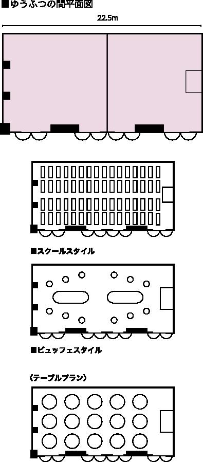 中宴会場「ゆうふつの間」(2階) 見取り図