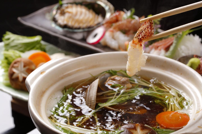 【志古津 特別コース】銀鍋 蟹と鮑のちり鍋コース