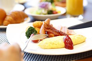 朝食コーナーも充実